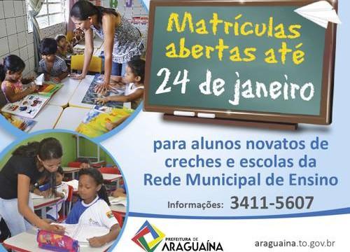 Matrículas na rede municipal de ensino vão até sexta, 24