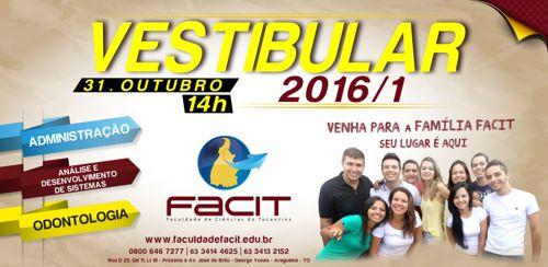 Inscrições para o vestibular FACIT seguem até 25 de outubro