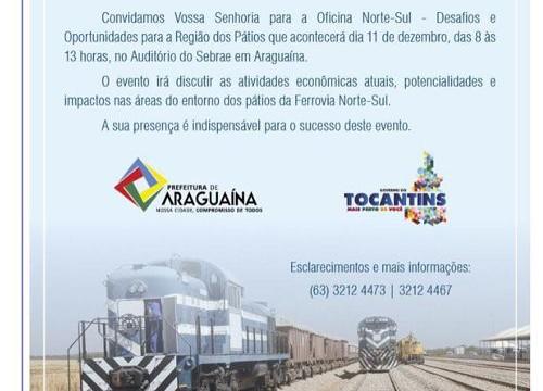 Ferrovia Norte-Sul será tema de oficina em Araguaína