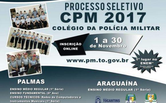 Colégio da PM abre edital para seleção de alunos em Palmas e Araguaína