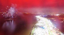 Mais de 10 mil pessoas prestigiam queima de fogos na Via Lago