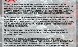 CRMV Tocantins conclama médicos veterinários para entrarem em alerta total com Coronavírus